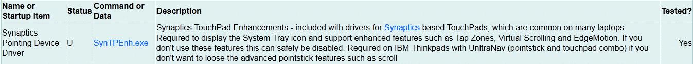 Impostazioni suggerite per il programma Synaptics in avvio automatico