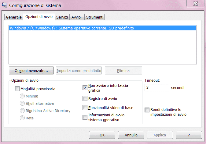 Timeout in msconfig - settaggio per velocizzare l'avvio di Windows