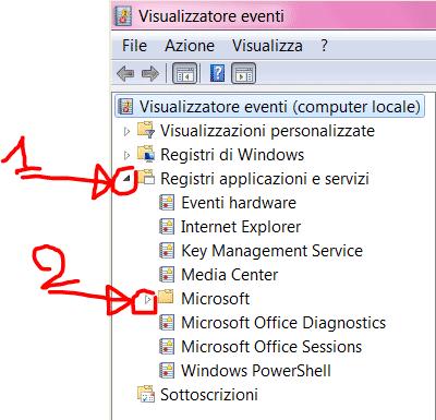 Visualizzatore Eventi - espansione Registri applicazioni e servizi