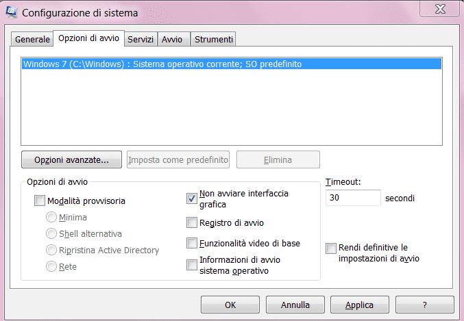 MSConfig - Scheda Opzioni Di Avvio - Non Avviare Interfaccia Grafica
