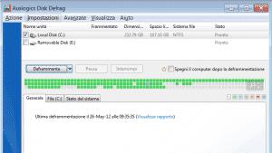 Interfaccia Principale Di Auslogic Disk Defrag