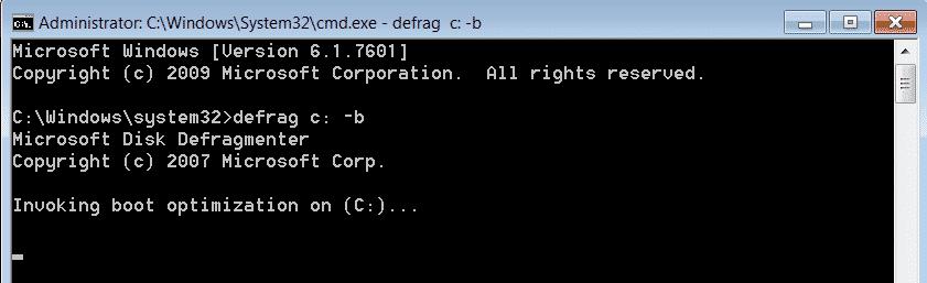 Comando Defrag c/b Per Deframmentare File Boot Da Linea Comando