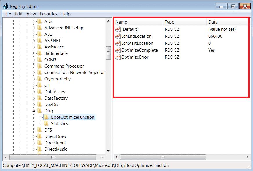 Struttura Editor Registro di Sistema - Area Valori