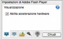 Impostazioni di Adobe Flash Player - Abilita Accelerazione Hardware