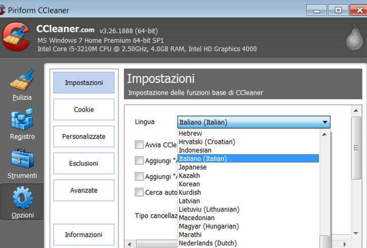 Modificare la lingua in CCleaner