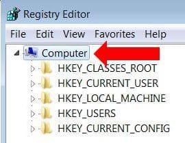 Creare backup del registro - selezionare Computer in regedit