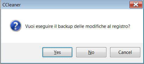 Eseguire Backup delle Modifiche Al Registro con CCleaner