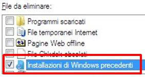 Installazioni di Windows precedenti - Pulizia Disco