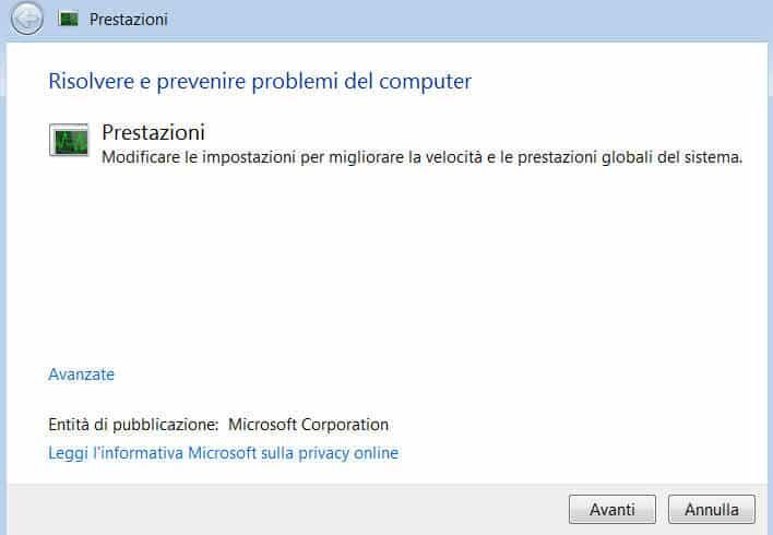 Risoluzione dei problemi di prestazioni in Windows 7 - schermata di partenza