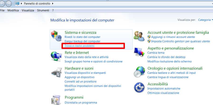 Come aprire Risoluzione dei problemi di prestazioni in Windows 7 -Trova e risolvi problemi