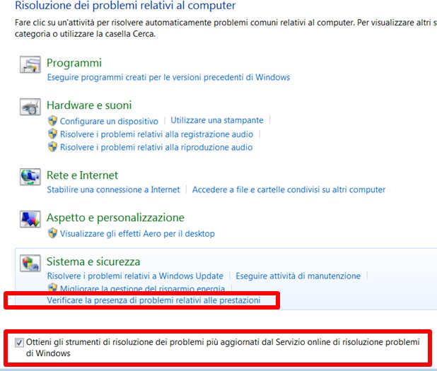 Come aprire Risoluzione dei problemi di prestazioni in Windows 7 - verificare la presenza di problemi relativi alle prestazioni