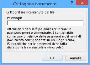 Proteggere file di Office 2013 con password - dove digitare la password