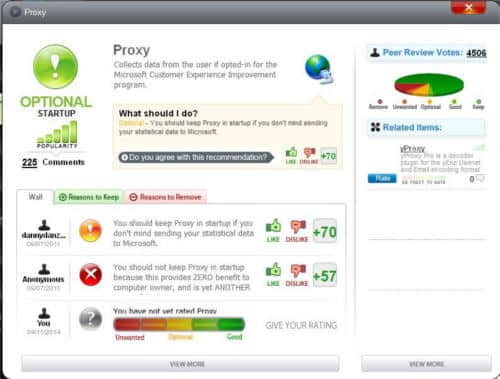 Finestra More Info in SlimCleaner Free