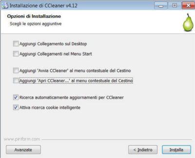 Schermata scelta impostazioni installazione CCleaner