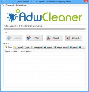 AdwCleaner Finestra principale