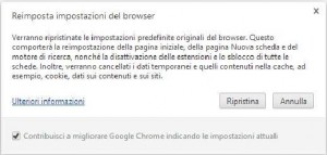 Finestra dialogo ripristino Chrome