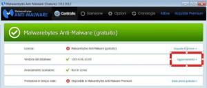 Malwarebytes Anti-Malware - aggiornamento database minacce