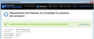 Malwarebytes Anti-Malware - risultati scansione