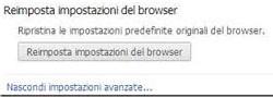 Reimposta impostazioni predefinite Chrome