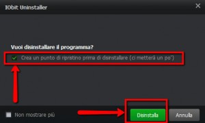 Iobit Uninstaller Free Punto di ripristino