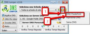 DNS Jumper - Impostare dns predefiniti