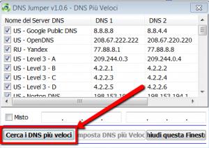 Cercare i server DNS più veloci con DNS Jumper