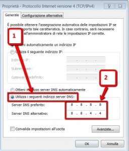 Cambiare dns in windows