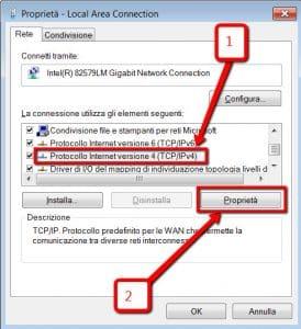 Cambiare dns protocollo internet