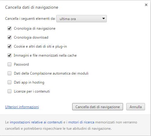Cancellare Dati Navigazione Chrome