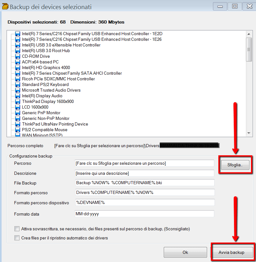 Driver Backup - come avviare backup dei drivers
