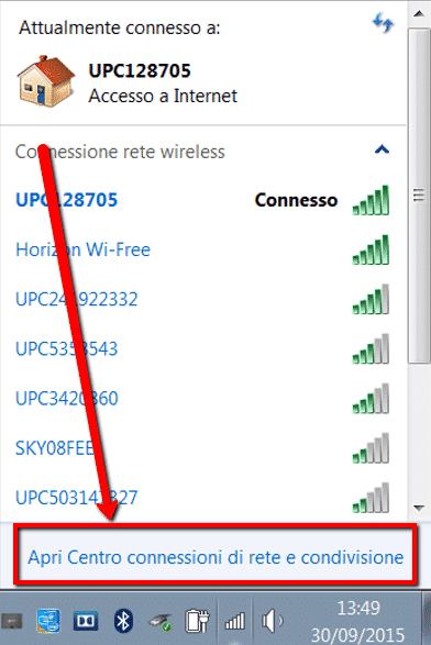 Apri centro connessioni di rete