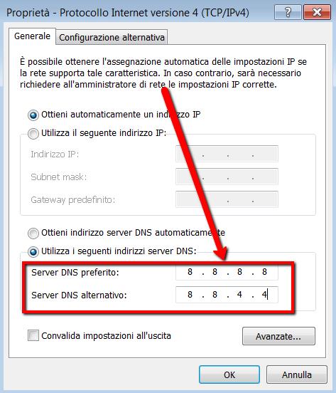 Cambiare server DNS con DNS di Google Public DNS