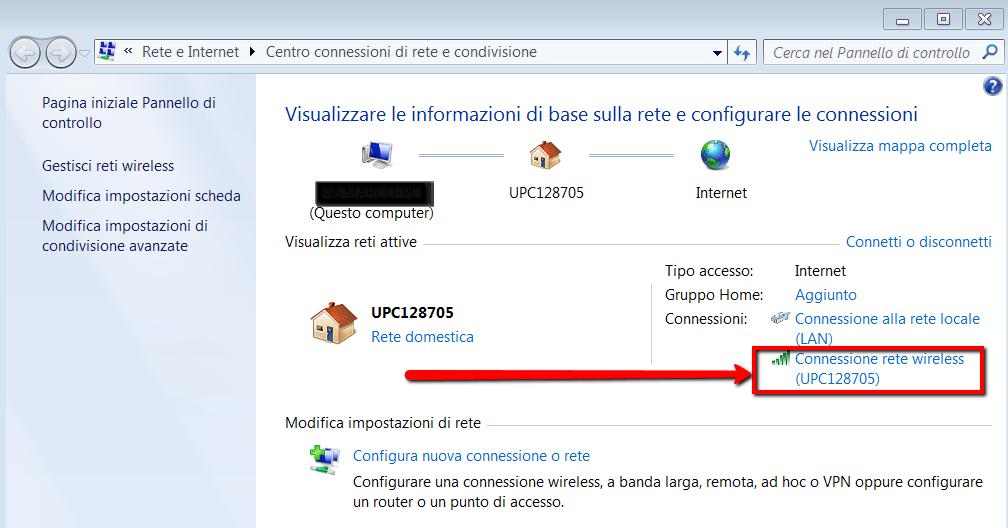 Come aprire proprieta connessione