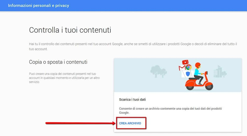 Google Account Personale - Crea Archivio