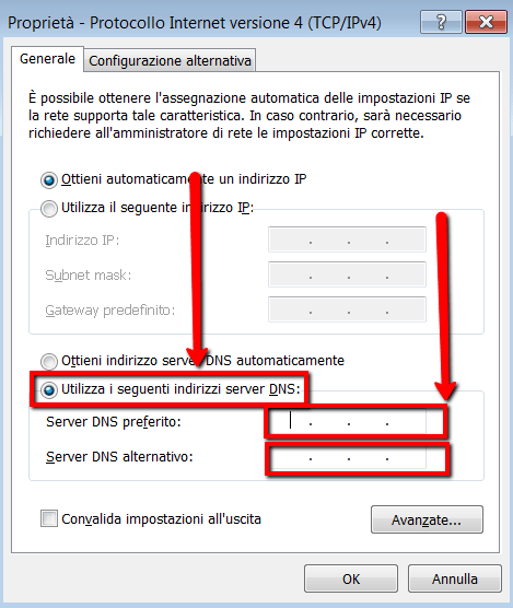 Modificare indirizzi server dns