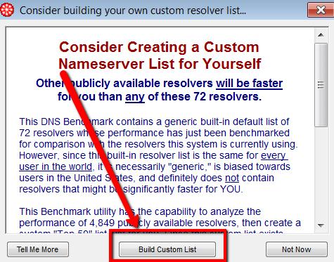 DNS Benchmark - build custom list