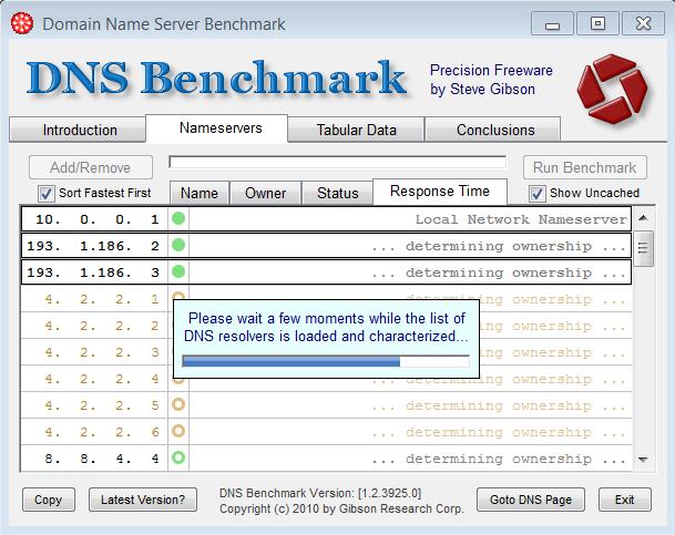 DNS Benchmark carica lista servers