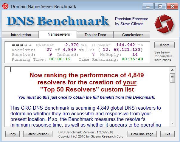 DNS Benchmark - costruzione lista personalizzata