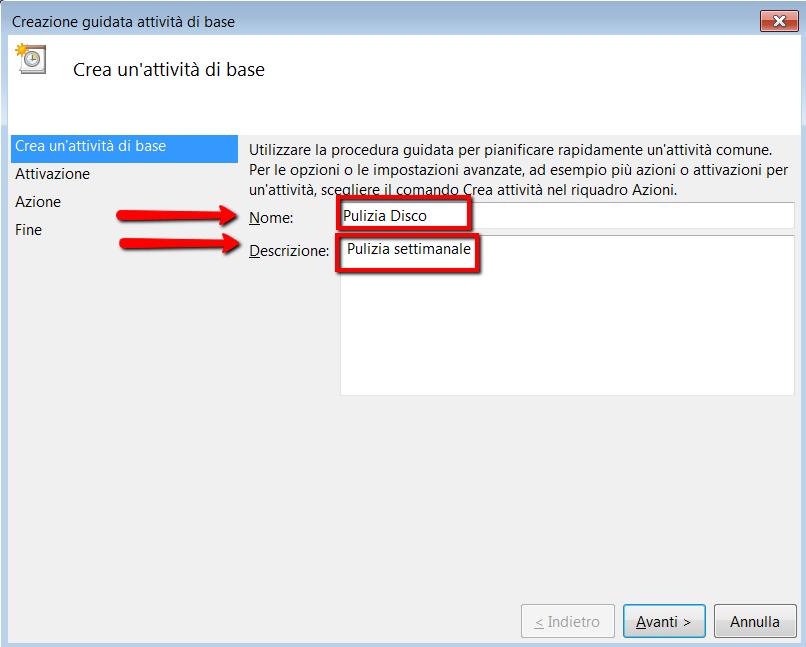 Impostare attivita di base in Utilita di Pianificazione di Windows