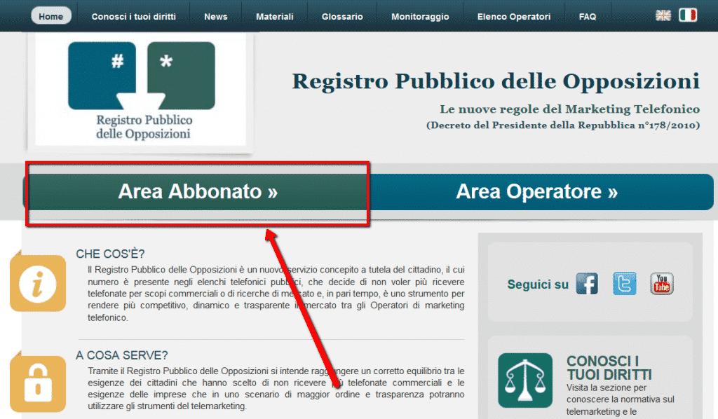 Registro pubblico delle opposizioni - area abbonato