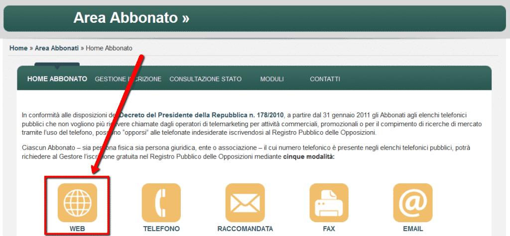 Registro pubblico delle opposizioni - iscrizione via web