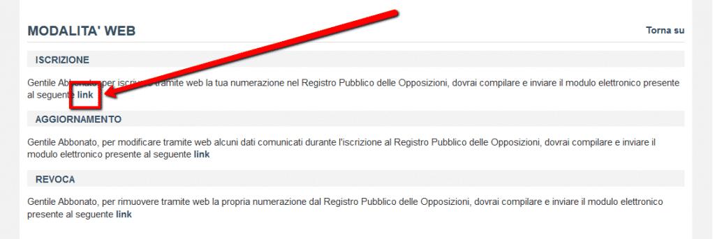 Registro pubblico delle opposizioni - link per iscrizione via web