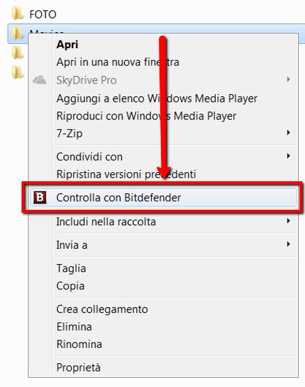 Scansire file cartelle con Bitdefender Free Edition