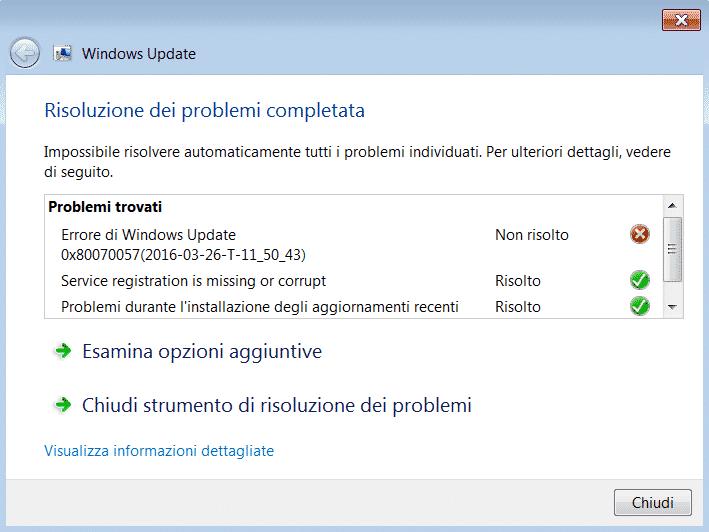 Strumento risoluzione problemi Windows Update - risultati scansione