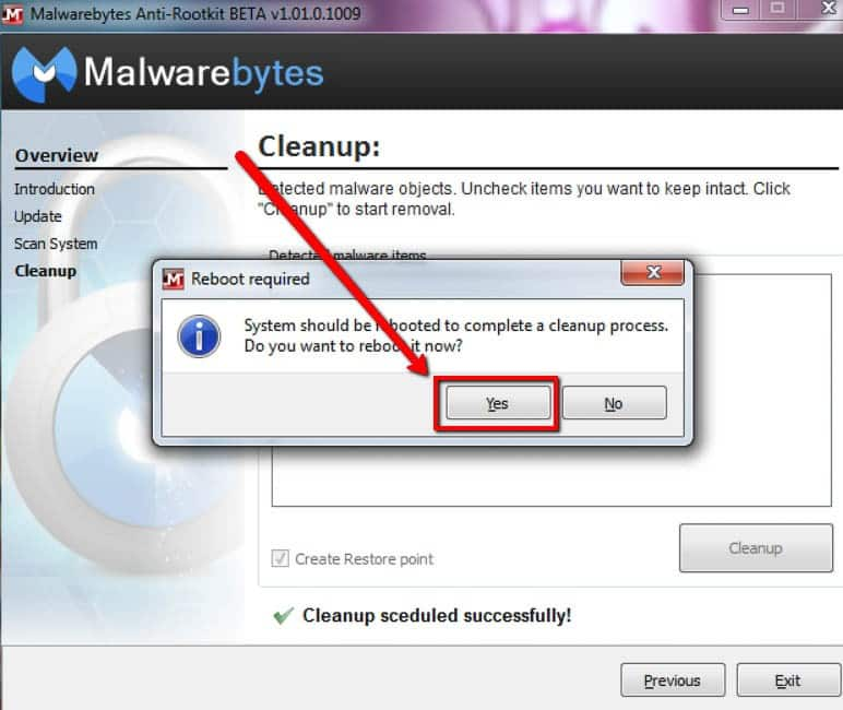 Malwarebytes Anti-rootkit conferma rimozione rootkit