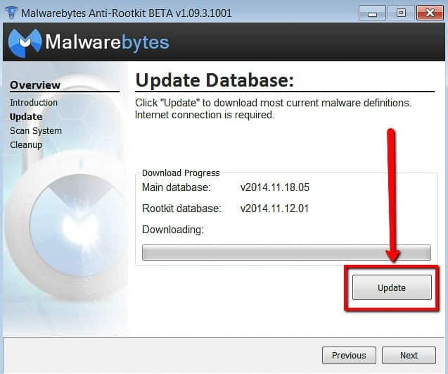 Malwarebytes Antirootkit aggiornamento database