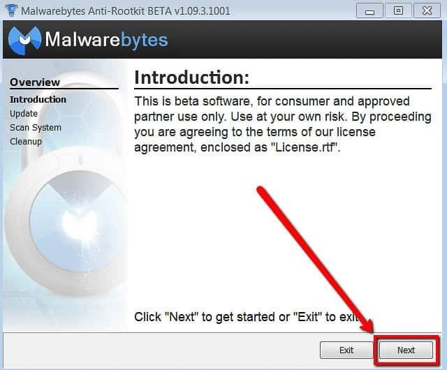 Malwarebytes Antirootkit prima schermata