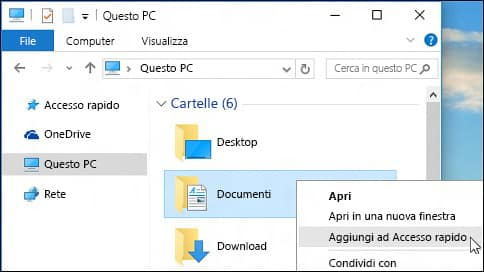 Aggiungere file ad accesso rapido in Esplora File in Windows 10