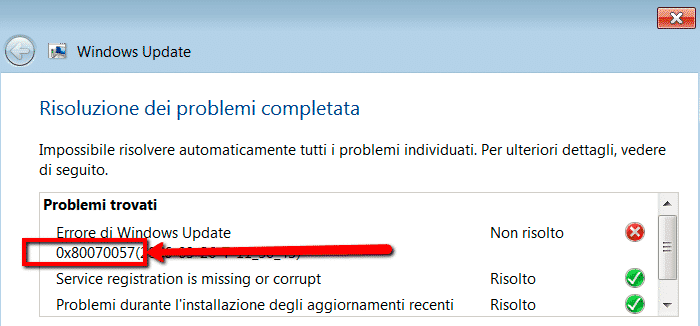 Codice di errore di Windows Update