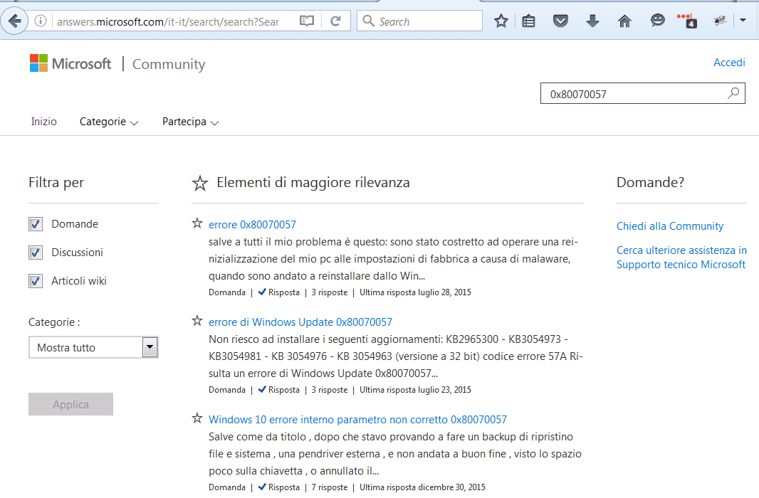 Community di Windows per risolvere problemi di Windows Update